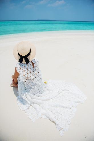 gary pepper girl blogger straw hat beach wedding white dress cover up beach summer