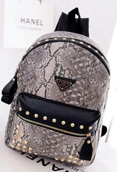 bag snake print leather bag