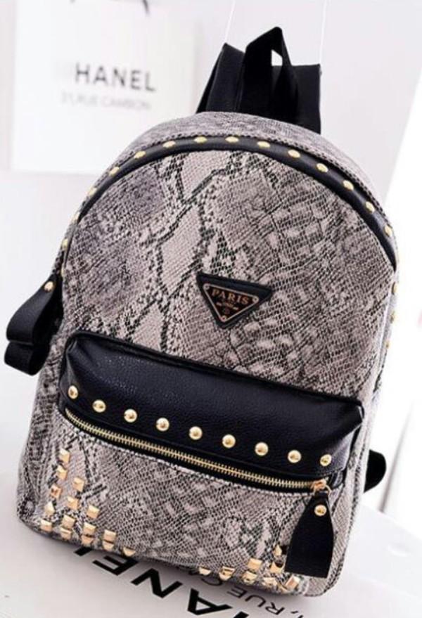 6b186da39f10ae Online Shop 2014 New Fashion Snake Print women Backpack with Rivet ...