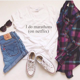 shirt pale grunge netflix tumblr cute clothes shorts flannel shirt converse quote on it sunglasses denim levis levis shorts instagram t-shirt blouse
