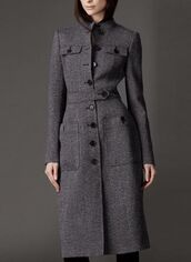 coat,gray coat,grey coat,long sleeve coat,trench style coat,front pockets,long sleeves,belted coat,button detail,wool coat,long coat,www.ustrendy.com