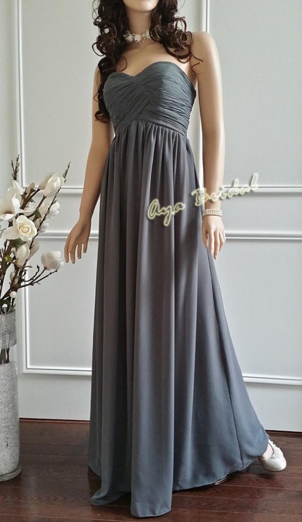 Long bridesmaid dress strapless evening party dress for Dark grey wedding dresses