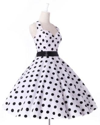 dress black and white swing dress polka dots
