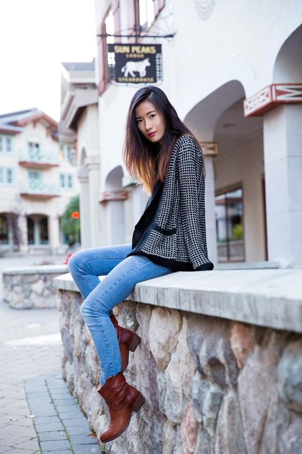 von vogue blogger cardigan top jeans