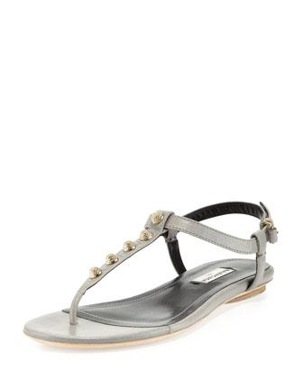Balenciaga golden studded thong sandal, gray
