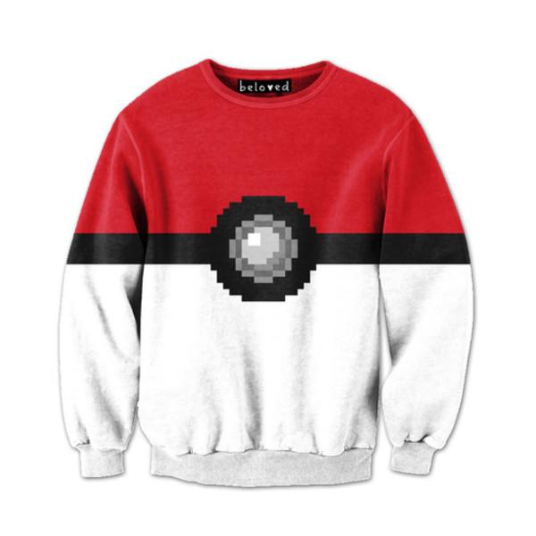 sweater sweatshirt pokemon pokeball anime hipster