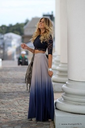 blouse,navy lace crop top,skirt,blue ombré maxi,clothes,dip dye skirt,blue dip dye,blue blouse,ombre skirt,lace blouses,ombre,blue skirt,blue,style,lace top,lace up,long skirt,maxi skirt,boho,boho chic,boho shirt,girly,hippie,cute skirt,cute,summer outfits,summer dress,shirt,crop tops