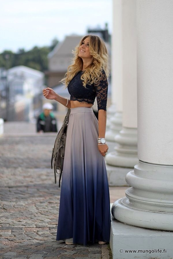 blouse navy lace crop top skirt blue ombr233 maxi