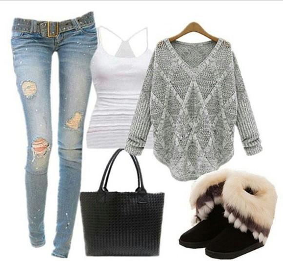 fur boots brown jeans denim Belt tank top knitted sweater