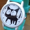 Children's cartton cat print silica gel strap watch