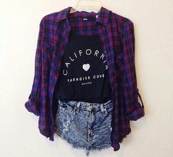 blouse tank top purple and blue flannel High waisted shorts california t-shirt shirt top black black top black and white graphic tee crop
