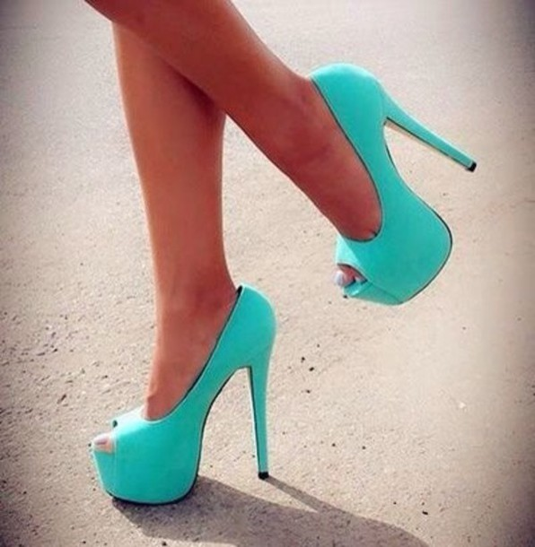 Shoes Mint Turquoise High Heels 5 Inch High Light
