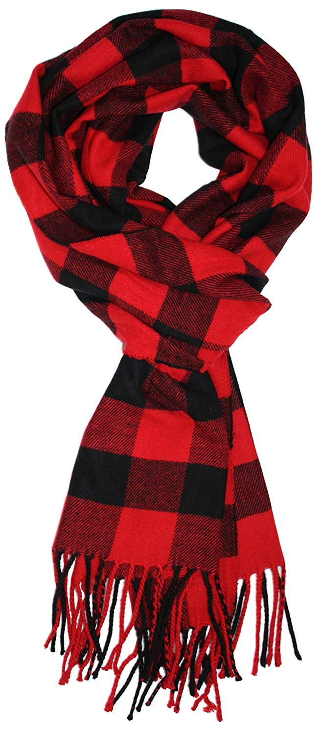 Ted and Jack - Jack's Classic Cashmere Feel Buffalo Check Scarf in Black and Red at Amazon Men's Clothing store