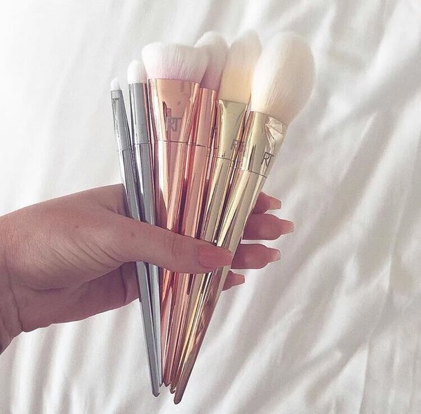 make-up makeup brushes make-up gold pretty makeup brushes face makeup