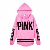 top,victoria's secret,hoodie,pink by victorias secret
