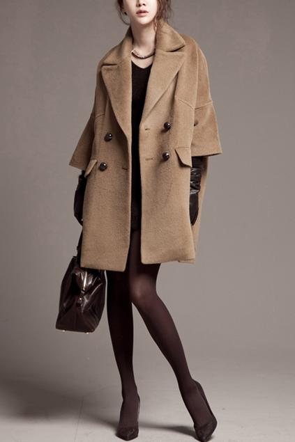 Cropped Sleeve Oversize Cashmere Coat - OASAP.com