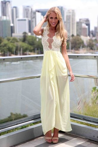 sheer mesh ustrendy yellow maxi dress