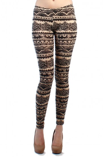 OMG GEOMETRIC LEGGINGS-CAMEL-BLACK