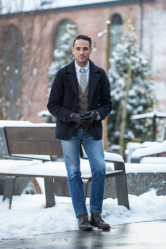 he spoke style blogger pea coat mens coat tie gloves coat shirt jeans jewels shoes