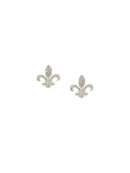 elise dray women fleur earrings stud earrings gold grey metallic jewels