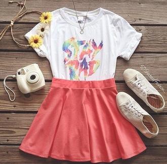 top stay rad colorful spring skater skirt flower headband