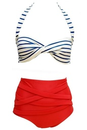 stripped swimwear,red bottoms,stripped top,retro bikini,swimwear,Pin up,bikini,high waisted bikini,vintage,navy and white stripe top,red high waist bottoms,white bottom,high waisted swimwear,retro,sailor,nautical,stripes,leggings,www.jdsports.co.uk,dress,white dress,belt,leopard print,bow