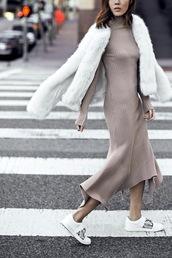 dress,maxi knit dress,tumblr,maxi dress,knitwear,knitted dress,grey dress,asymmetrical,asymmetrical dress,sneakers,white sneakers,low top sneakers,jacket,white jacket,fur jacket,nude,nude dress,long sleeves,long sleeve dres,long sleeve dress,bodycon,bodycon dress,party dress,sexy party dresses,sexy,sexy dress,party outfits,spring dress,spring outfits,fall dress,fall outfits,winter outfits,winter dress,classy dress,elegant dress,cocktail dress,cute dress,girly dress,date outfit,birthday dress,clubwear,club dress,beige knit dress