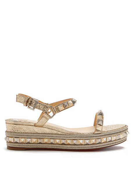 christian louboutin espadrilles gold shoes
