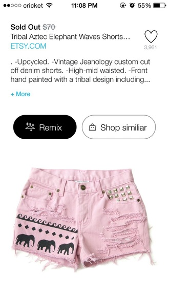 shorts pink shorts elephants