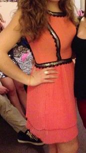 dress,silver,peach dress