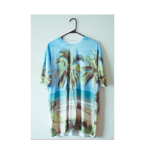 printed, sea scape shirt blue shirt beach light blue palm trees coconut tree sand picture tshirt baggy tshirt perf