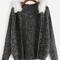 Black faux fur trim hooded sweater coat -shein(sheinside)