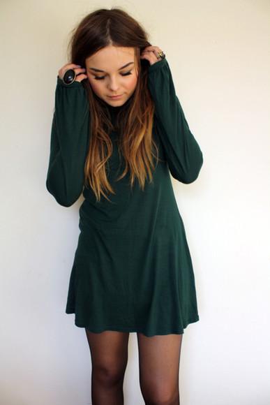 long sleeve dress shift dress forest green hipster