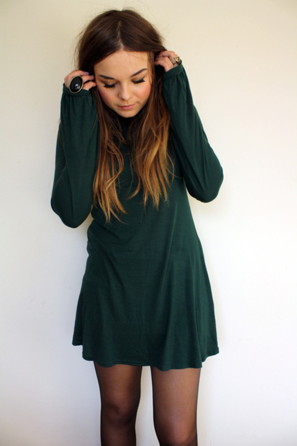 Dark Informal Green Long Sleeve Casual Dress -SheIn(Sheinside)