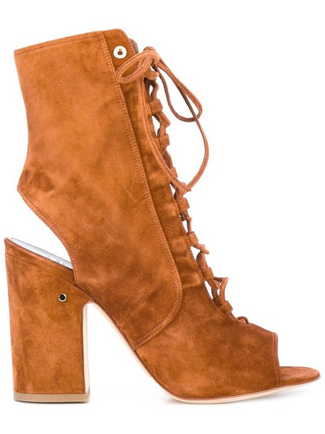 LAURENCE DACADE cut-out women boots leather brown shoes