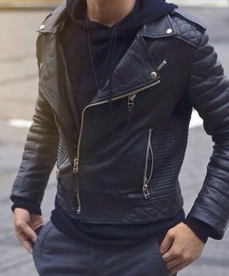 jacket black biker jacket zipper street fashion menswear