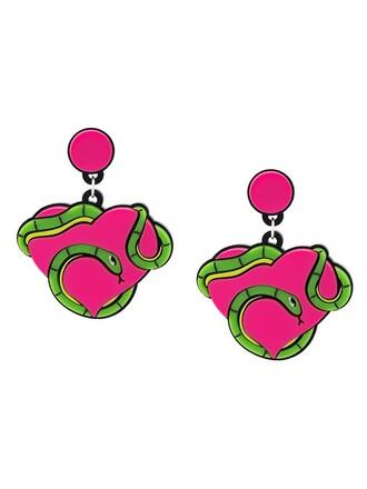 snake heart earrings purple pink jewels