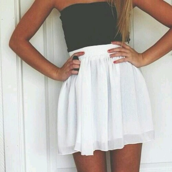 crop tops shirt skirt white black bandeau dress little black dress