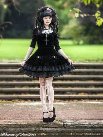 dress goth gothic gothic lolita gothic dress black dress black cross tights