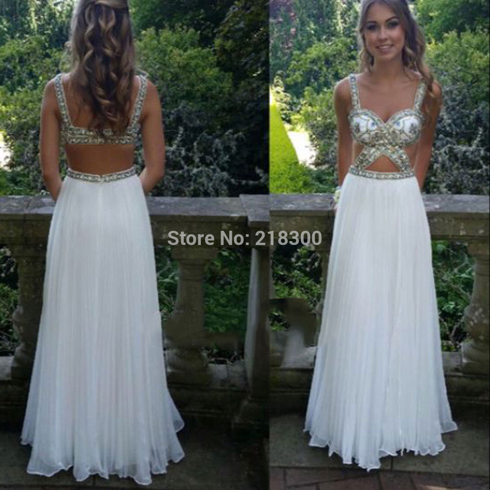 com : Buy Cut out White prom dresses long sparkly crystals pageant ...