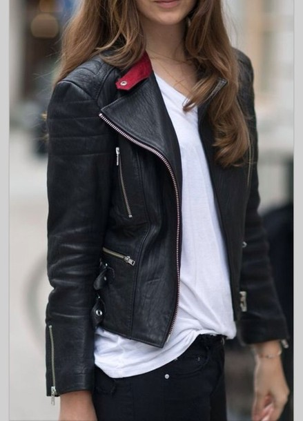 Jacket: leather jacket, black, leather, black and white, white, t ...