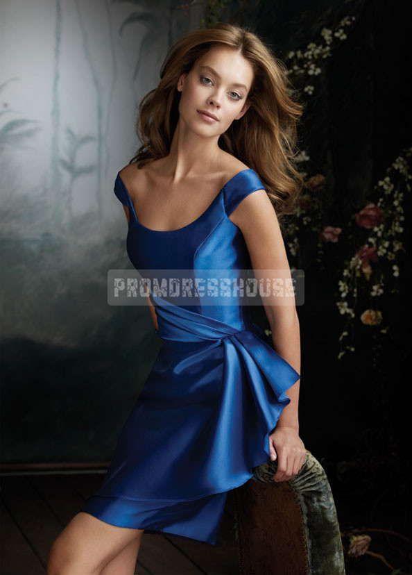 Sheath Short Blue Satin Off-the-shoulder Bridesmaid Dress - Promdresshouse.com