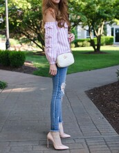 top,tumblr,off the shoulder,off the shoulder top,stripes,striped top,pink top,denim,jeans,blue jeans,skinny jeans,pumps,pointed toe pumps,high heel pumps,bag,white bag,shoes