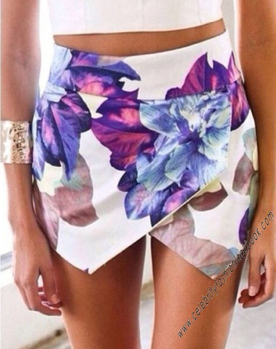 Lotus Print Skorts - Shorts - Bottoms - Clothing