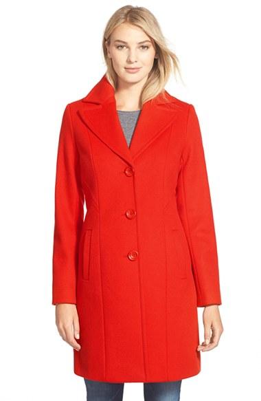 Kristen Blake Single Breasted Wool Blend Coat (Regular & Petite)   Nordstrom