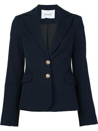 blazer women fit cotton blue jacket