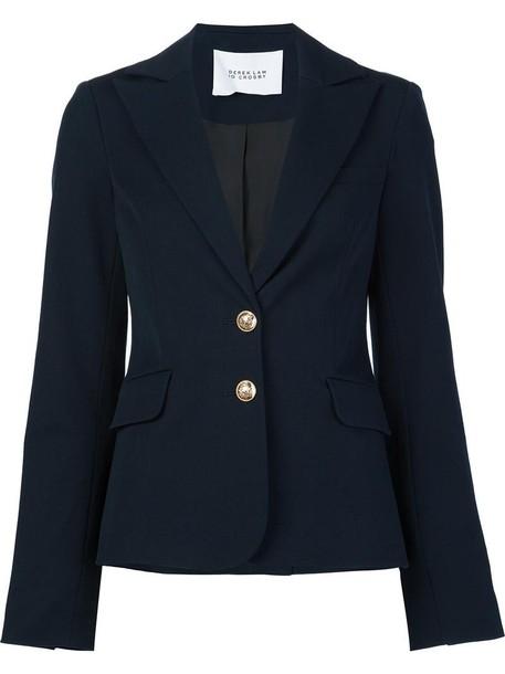 DEREK LAM 10 CROSBY blazer women fit cotton blue jacket