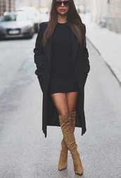 coat,dress,shoes,black coat,short,hot,beige,suede boots,trench coat,women,fashion,gorgeous,boots,pinterest,long coat,wool coat,winter coat,fall coat