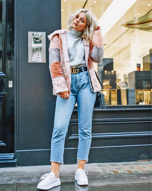 jacket tumblr pink jacket faux fur jacket denim jeans mom jeans cropped jeans sneakers white sneakers low top sneakers turtleneck grey turtleneck top