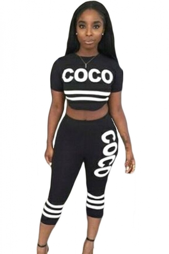 pants chanel pant set black two piece chic cute girly wots-hot-right-now two-piece black sexy pants joggers casual stripes